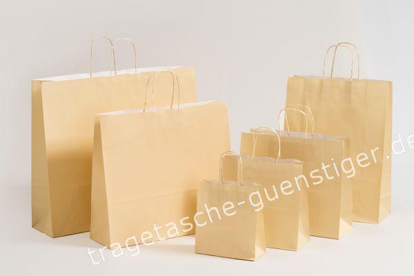 Papiertasche mit gedrehtem Papiergriff Uni Creme