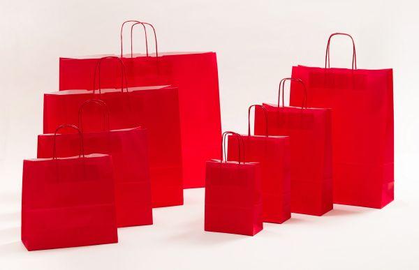 Papiertasche mit gedrehtem Papiergriff Uni Rot