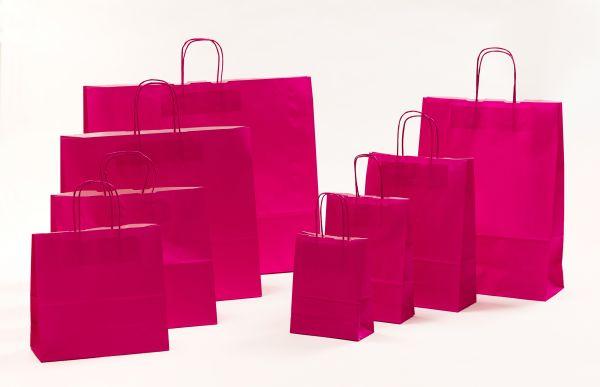 Papiertasche mit gedrehtem Papiergriff Uni Pink