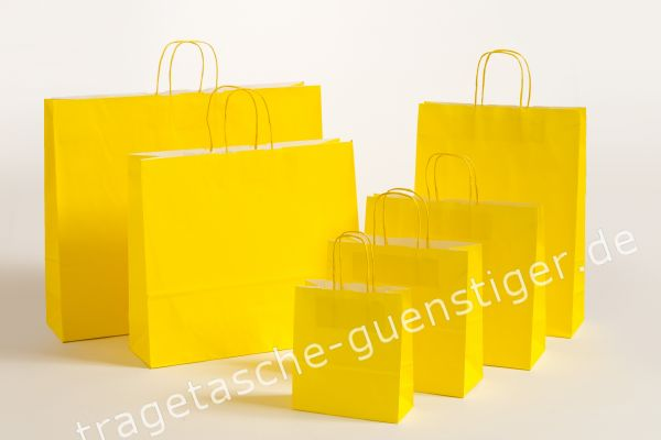 Papiertasche mit gedrehtem Papiergriff Uni Gelb