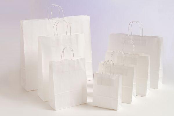 Papiertasche mit gedrehtem Papiergriff Uni Weiß
