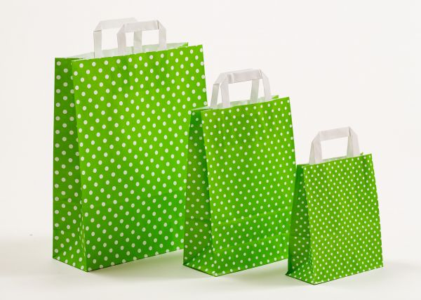 Flachhenkeltasche Punkte Hellgrün