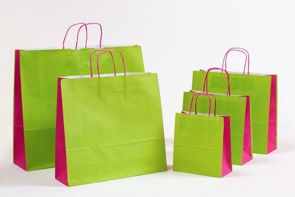 Papiertasche mit gedrehtem Papiergriff Uni DUO Grün/Pink
