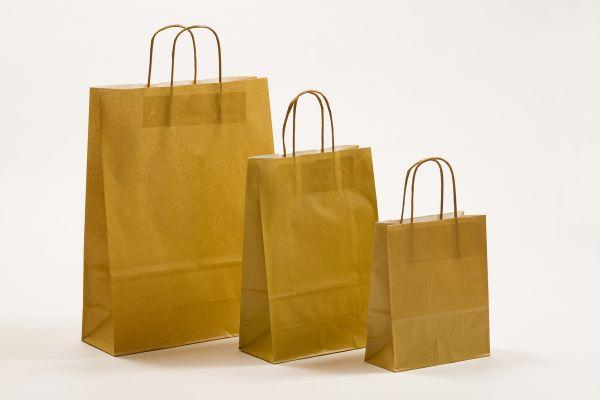 Papiertasche mit gedrehtem Papiergriff Uni Gold