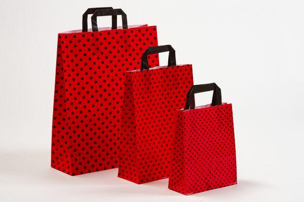 Flachhenkeltasche Punkte DUO Rot/Schwarz