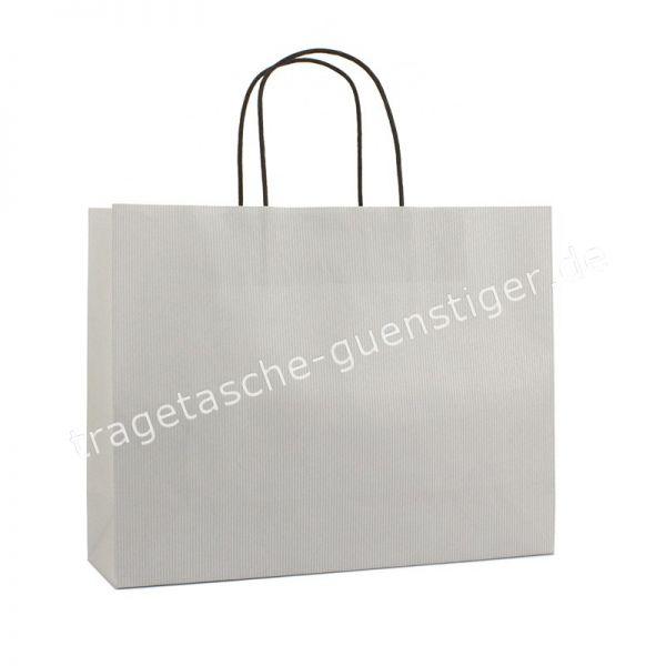 Papiertasche mit gedrehtem Papiergriff Querformat Silber
