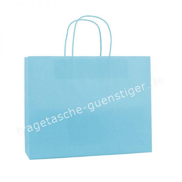 Papiertasche mit gedrehtem Papiergriff Querformat Hellblau