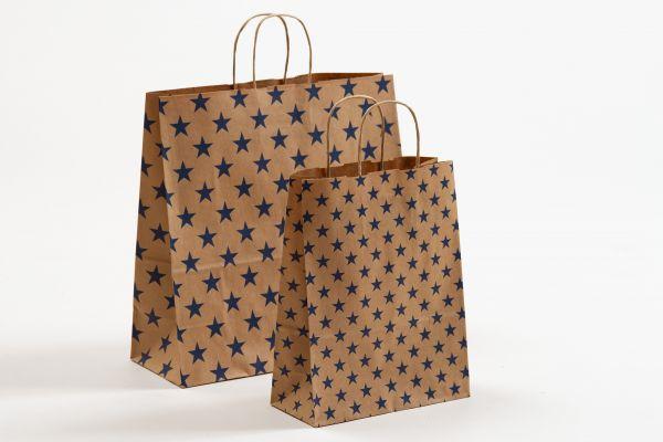 Papiertasche mit gedrehtem Papiergriff Sterne Blau