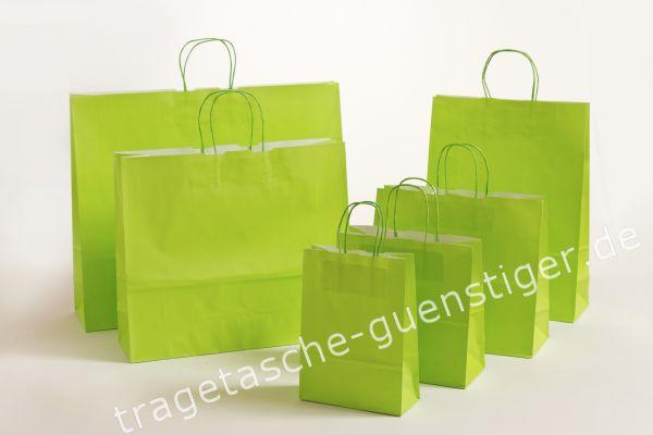 Papiertasche mit gedrehtem Papiergriff Uni Maigrün