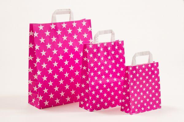 Flachhenkeltasche Sterne Pink