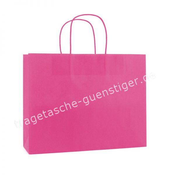 Papiertasche mit gedrehtem Papiergriff Querformat Pink