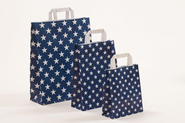 Flachhenkeltasche Sterne Blau