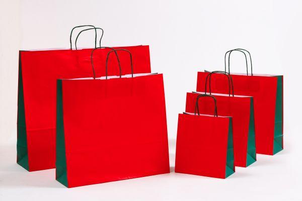 Papiertasche mit gedrehtem Papiergriff Uni DUO Grün/Rot
