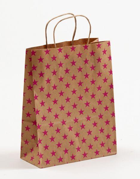 Papiertasche mit gedrehtem Papiergriff Sterne Pink