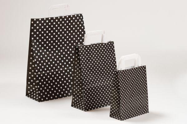 Flachhenkeltasche Punkte Schwarz