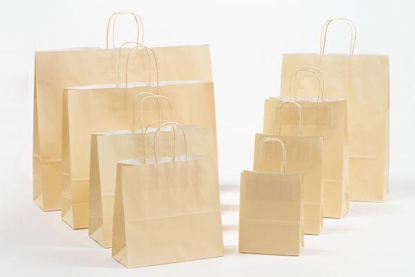 Papiertasche mit gedrehtem Papiergriff Uni Sand