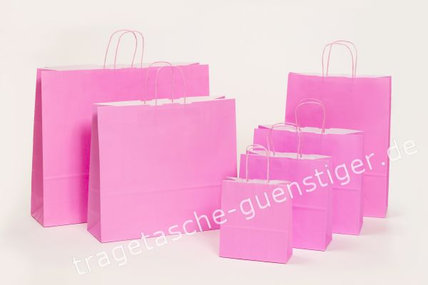 Papiertasche mit gedrehtem Papiergriff Uni Rosa