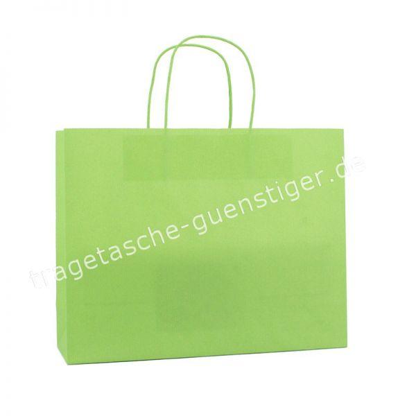 Papiertasche mit gedrehtem Papiergriff Querformat Hellgrün