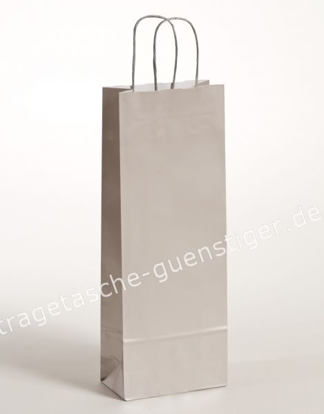 Papier Flaschentaschen 1er Silber