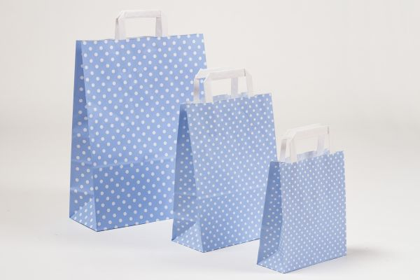 Flachhenkeltasche Punkte Hellblau