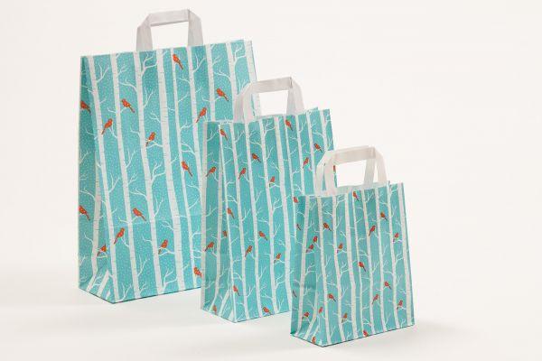 Flachhenkeltasche Vögel