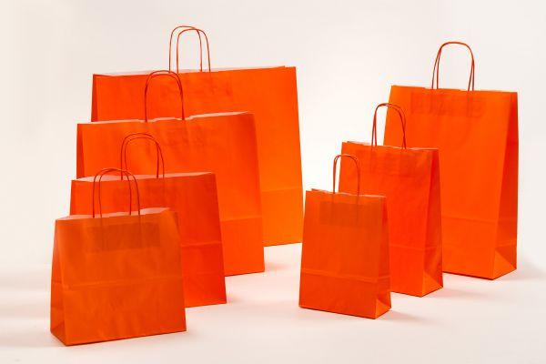 Papiertasche mit gedrehtem Papiergriff Uni Orange