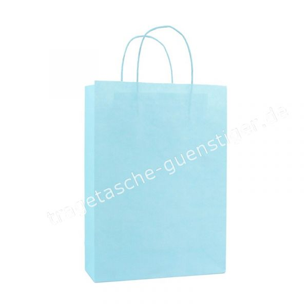 Papiertasche mit gedrehtem Papiergriff Hellblau