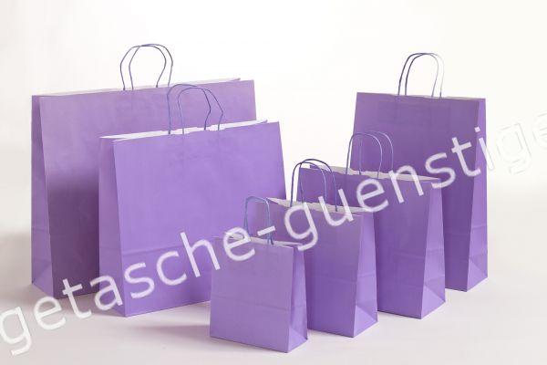 Papiertasche mit gedrehtem Papiergriff Uni Violett
