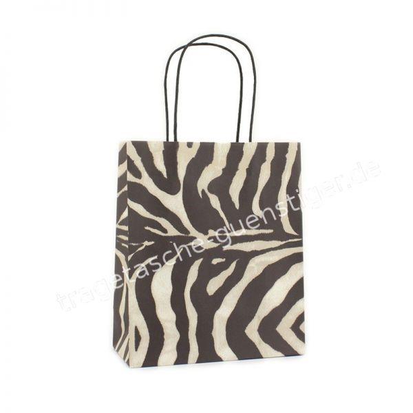 Papiertasche mit gedrehtem Papiergriff Zebra